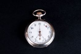 Antique Silver Keyless Open Faced Pocket Watch, with Embossed and Stylized Tulip, Decoration to Back