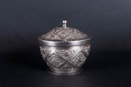 Antique Silver Lidded Jar with Engraved Decoration to Cover and Body. c.1900. Not Marked but Tests