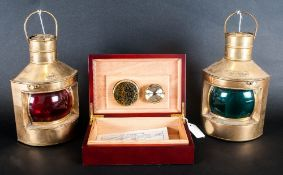 Wooden Cigar Humidor Together With 2 Brass Oil Lamps 'Port' & 'Starboard'