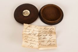 William IV Circular Wooden Snuff Box. Inset with Ivory Roundel of Lancaster Castle. c.1835. Together