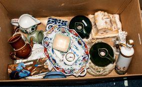 Mixed Lot Of Misc Pottery Comprising Crown Devon, Wedgwood Jasper, Bursley, Staffordshire,