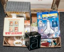 Mixed Box Lot Of Collectables Comprising figures, boxed biscuit barrell, space shuttle toy, boxed