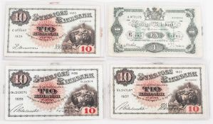 A Small Collection of Swedish  - Pre War 2 1930's 10 Kronor Bank Notes. Dates 1937, 1938 and 1939.