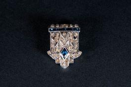 Art Deco Swiss Silver Paste Set Clip On Brooch