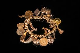 Vintage and Quality 18ct Gold Bracelet Loaded with 18ct and 9ct Gold Charms + Two 22ct Half