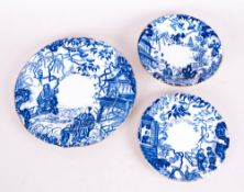 Royal Crown Derby Blue and White Chinese Pattern Cabinet Plate, with Matching Plate and Dish. c.late