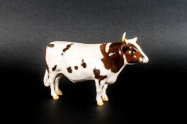 Beswick Animal Figure - Ayrshire Bull CH - Gloss ' Whitehill Mandate ' Model Num.1454B Designer
