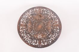 Coalbrookdale Iron Fruit Plate decorated with mythical god figures with a sunburst decoration to