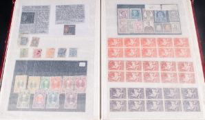 Red A4 16 Page Stock Book Containing interesting and eclectic range of stamps and vignettes. Many