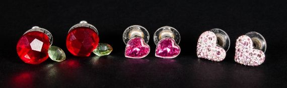 Three Various Pairs of Swarovski Earrings comprising solitaire pink crystal hearts, multiple pale