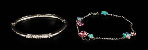 Swarovski Bangle and Bracelet, the bangle with articulated links and three panels of small white