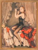 Art Deco Large Glass Photo Frame with Print of Semi-Clad Lady. Size 14.5 x 11.5 Inches.
