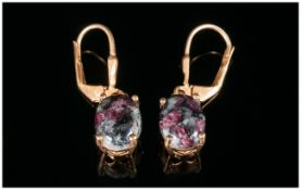 Russian Eudialyte Lever Back Earrings, eudialyte, a natural gemstone, mined in Siberia, displaying