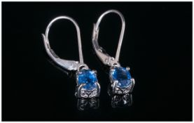 Kyanite Lever Back Drop Earrings, 1.5cts of the blue gemstone, mined in the Himalayas, often