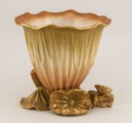 Royal Worcester Handpainted Waterlily Pod Vase with frog & insect figures. Date 1903. Shape Number