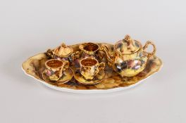 Peter Stanier Fine Bone China Miniature Tea for Two 8 Piece Tea Service, with Hand Finished Gold