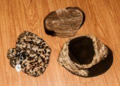 Collection Of Three Ladies Fur Hats