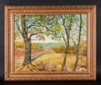 John Corcoran Oil On Board 'A View Of Barden Tower In Lancashire' Signed. 16x20.752 Framed in