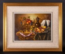 Elia Josza Hungarian Artist Born 1920's ' Stillife ' Study of Fruit In a Tazza and Plate, Flagon -