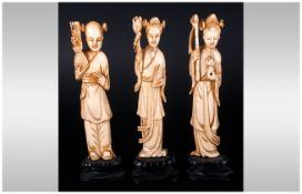 Chinese 19th Century Ivory Figures ( 3 ) In Total. All Figures Raised on a Black Lacquer Shaped