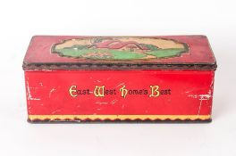 Art Deco CWS Hinged Free Sample Sample Biscuit Tin cottage on lid and East West Home's Best to Front