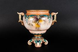 Royal Worcester Hadley's Hand Painted Twin Handled Floral Vase. c.1880's. Stands 5 Inches High.