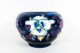 Moorcroft 'Pansy' Pattern Jardiniere with bulbous body and inverted rim, yellow, purple and deep