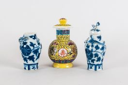 Two 20thC Chinese/Canton Blue & White Miniature Vases And Covers Plus On Other, Tallest 4.5 Inches