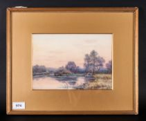 Shirley Fox R.A The River Kennet, watercolour, signed & dated 1906, original gold mount & gilt