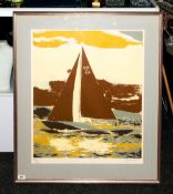 Robert Jones - Artist Signed Ltd Edition and Numbered Screen Print, Num.82-250 ' Sailing Boat of