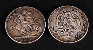 Victorian Silver Crown Date 1891 + A Mexican Silver 8 Reales Coin. Dated 1897. Mexican 8 Reales Were