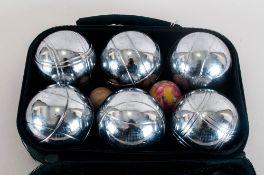 Six Ball Boules Set Comprises 3 x 2 Metal Petanque Balls, A Wooden Jack and a Distance Measurer In