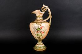 Royal Worcester Hand Painted Blush Ivory Classical Shaped Ewer / Jug, Decorated with Images of