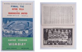 Cup Final Programme for Aston Villa v Manchester United. Saturday May 4th 1957, Kick Off 3pm at