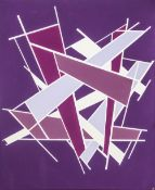 Bethany Haworth Local Abstract Artist Canvas Painting Titled 'Purple & Cream'