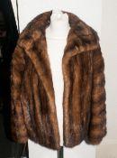Ladies Mid Brown Mink Jacket, fully lined, collar with revers, slit pockets, hook & loop fastening