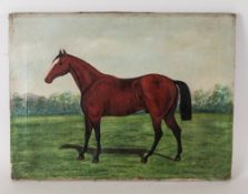 Oil on Canvas of a Bay Hunter In a Parkland Setting, Painted In The Naive Style, Unsigned and