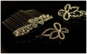 White Austrian Crystal and Faux Pearl Hair Comb of flower and leaf design, plus two flower shaped