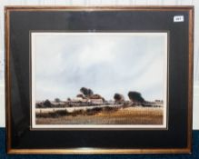 Edward Emerson Signed Original Watercolour titled 'Lane End Farm' depicting landscape with