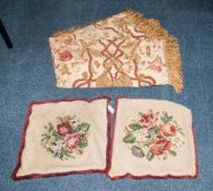 Floral Silk Throw with fringed edge 54x58, together with two floral scatter cushion covers.