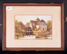 Watercolour Signed, 'Watermill' Framed & Mounted behind glass. Signature partially obscured by