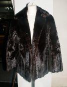Ladies Three Quarter Length Black Mink Coat, fully lined. Collar with revers, hook & loop