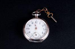 Ancre - Swiss Silver Keyless Open Face Pocket Watch. c.1880-1900. Features 15 Rubis, Spiral Breguet,
