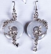 White Quartzite and Crystal Long Drop Earrings, each comprising an open circle of white quartzite