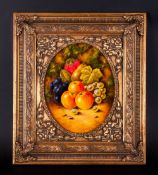 Royal Worcester Hand Painted & Signed Fallen Fruits Still Life On Panel By Ex Worcester Artist J.F.