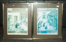 Pair Of Pencil Signed Tom Dodson Prints, Children In Back Garden Of Street Houses, With Blind