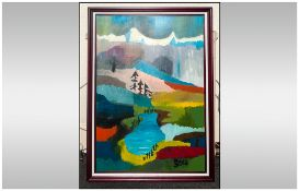 Michael Steinpichler Austrian Artist Born 1943 Titled 'Mountain Fields' Oil on canvas, signed &