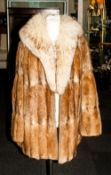 Ladies Three Quarter Length Musquash Coat, fully lined. slit pockets. With Fox Fur Collar..