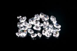 Small Bag of Clear Crystal Hearts in various sizes; good quality, probably Swarovski (not drilled as