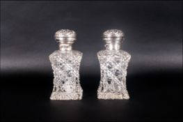 Edward VII Fine Pair Of Perfume Bottles With Square Bases Hallmark Birmingham 1906. Each stands 5.